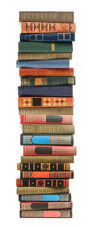 book background: Big stack of old antique books isolated on white background