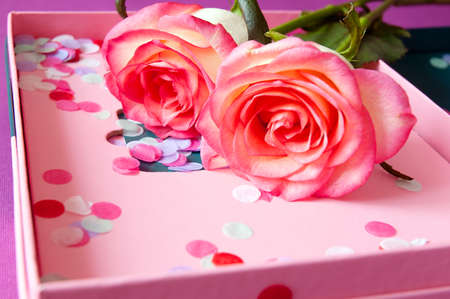 Beautiful pink roses bunch and box with confetti