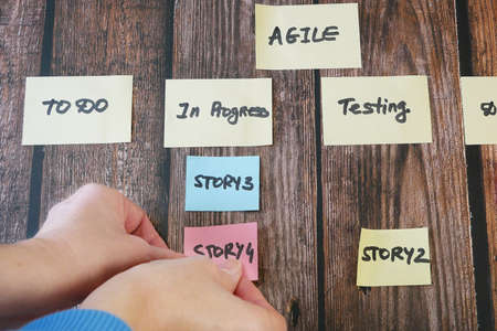 software scrum agile board with paper task, agile software development methodologies concept
