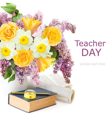 World Teacher's day concept. Flowers bunch, map, globe and books pile Stock Photo