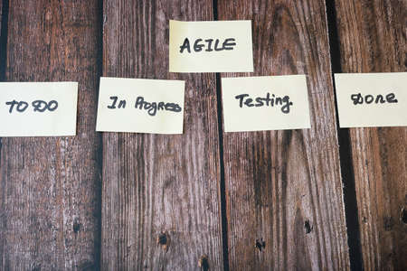 software scrum agile board with paper task, agile software development concept