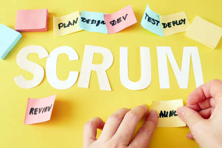 software scrum agile board with paper task, agile software development methodologies Stock Photo