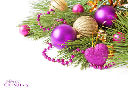 Cristmas greeting card with new year balls, merry christmas and happy new year concept