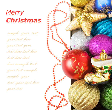 Cristmas greeting card with new year balls, merry christmas and happy new year concept Stock Photo
