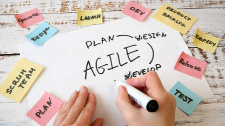 woman hands drawing on software scrum agile board with paper task, closeup