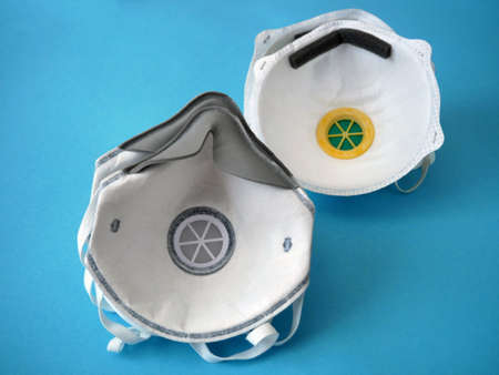 two different respirators with high protection level.  closeup