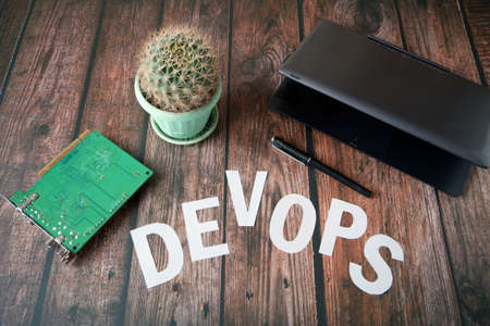 DevOps Concept for software engineering culture and practice of software development and operation, closeup Imagens