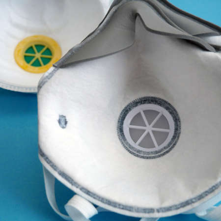 Many different respirators with high protection level.  Respritors production, packing and delivery, closeup