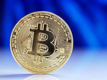 Bitcoin gold coin. Cryptocurrency bitcoin the future coin. Virtual cryptocurrency concept.