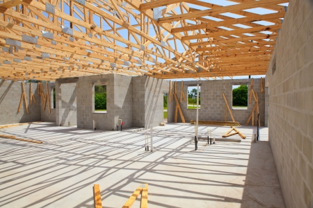 site: New Construction, Cement Block walls wood truss viewed from inside