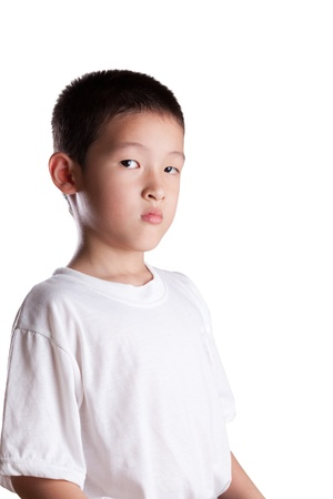 Young Asian Boy with Upset look on face photo