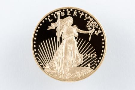 lingotes de oro: American Eagle Gold Coin Prueba $ 50 con superficie como Foto de archivo