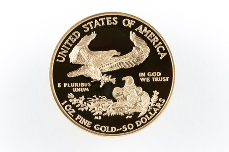 coins shot in golden color: American Eagle Gold Coin Proof $50 with like surface