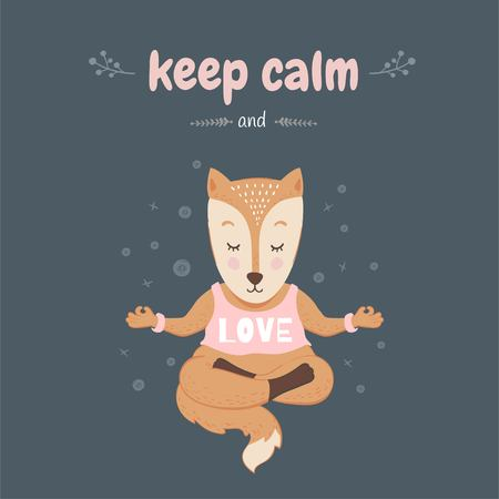 Keep calm and love. ute fox in the lotus position. Illustration for prints, postcards or childrens design. The Scandinavian style.