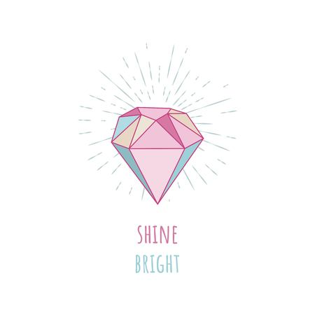 Shine bright. Diamond in the vintage sunbursts. Illustration with crystals, gem and minerals on a white background.