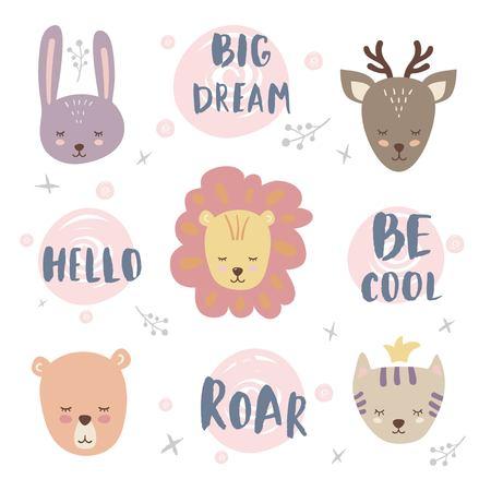Vetor definido com animal bonito e frase. Coelho, urso, leão, veado e gato.