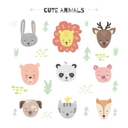 Vector fijado con el animal lindo. Conejito, oso, león, cerdo, venado, zorro, gato, panda y perro.