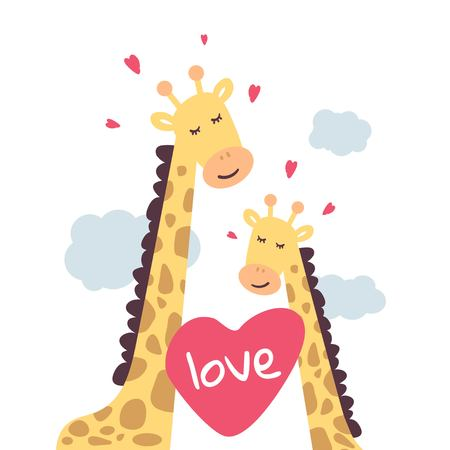 IGiraffes in the clouds. Cute and touching love giraffes. Vector illustration for Valentines day, poster, postcard, and other.