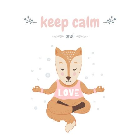 Keep calm and love. ute fox in the lotus position. Illustration for prints, postcards or children's design. The Scandinavian style.
