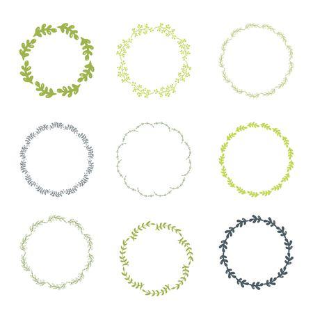 Collection of round frames from a hand drawing of leaves. Illustration