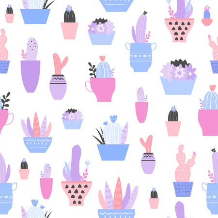 Seamless pattern with cactus, succulents in flowerpats. Trendy tropical design for textile. Illustration