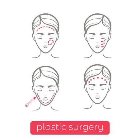 Plastic surgery vector icons. Vector illustration.