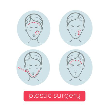 Plastic surgery vector icons. Vector illustration design