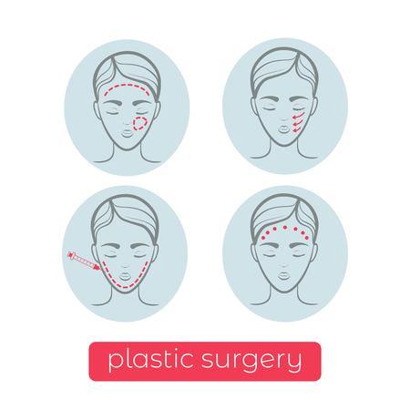 Plastic surgery vector icons. Vector illustration design