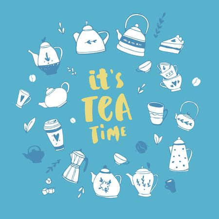 Its tea time. Hand drawn teapot and cup collection. Doodle tea cups, coffee cups and teapots. Vector illustration on tea time icons for cafe and restaurant menu design