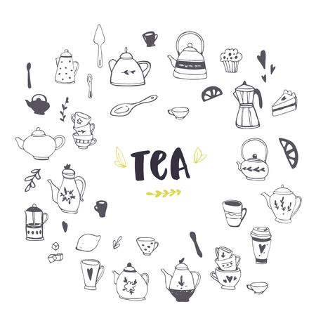 Hand drawn teapot and cup collection. Doodle tea cups, coffee cups and teapots. Vector illustration on tea time icons for cafe and restaurant menu design