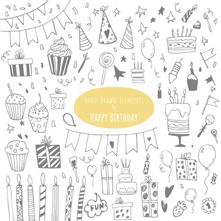 Happy Birthday hand drawn set. Party decoration, gift box, cake with candles, fireworks, confetti, party hats, bouquet, desserts and beverages. Vector outline illustration isolated on white. Illustration