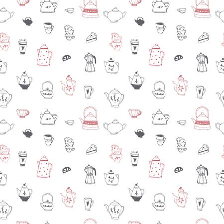 Tea time seamless pattern. Tea party background design. Hand drawn doodle illustration with teapots, cups and sweets.