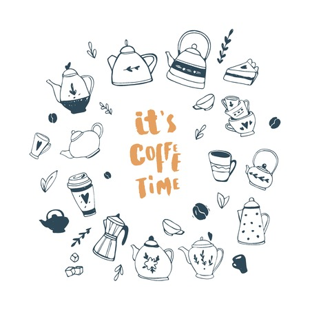 Its coffee time. Hand drawn teapot and cup collection. Doodle tea cups, coffee cups and teapots. Vector illustration on tea time icons for cafe and restaurant menu design