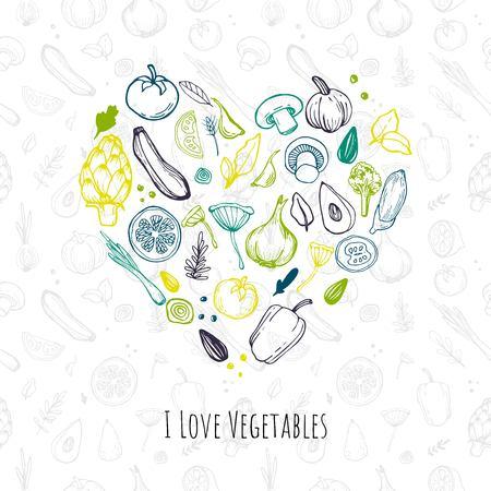 I love vegetables. Illustration of organic foods and vegetables. Hand drawn carrot, lettuce, spinach, garlic, spring onion, tomato, seeds, pepper, lemon, avocado, mushrooms, artichoke and lettering.
