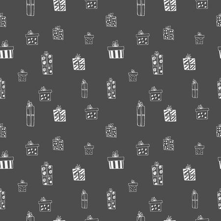 Seamless pattern with hand drawn doodle gift boxes with bows and ribbons.