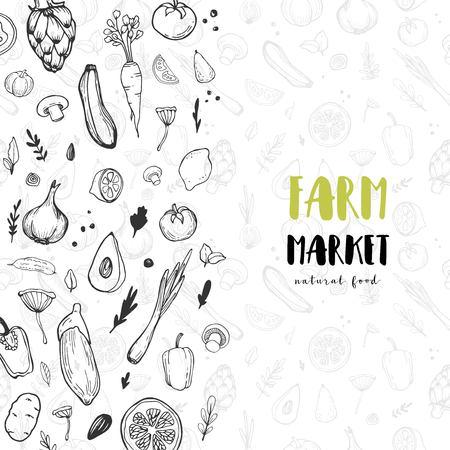 Vegetable hand drawn vintage vector illustration. Farm Market poster. Vegetarian set of organic products. Great for menu, banner, label, logo, flyer.