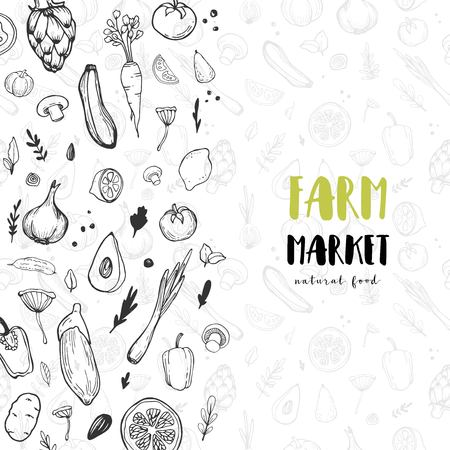 Vegetable hand drawn vintage vector illustration. Farm Market poster. Vegetarian set of organic products. Great for menu, banner, label, logo, flyer.