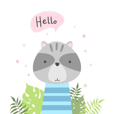 Cute raccoon tell you hello. Vector illustration.