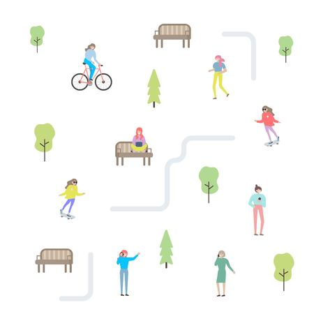 City life constructor. Summer set with people character. Flat design. Vector illustration