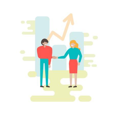 La gente pequeña hace un apretón de manos. Cooperación. Transacción completada. Promoción empresarial. Comunicacion de negocios. Diseño conceptual plano. Ilustración vectorial