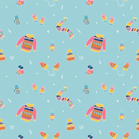 Vector pattern of cute winter clothes. Sweater, socks, hat, mitten, scarf.