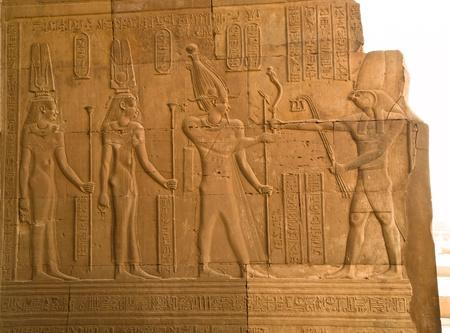 hieroglyphs of Pharaoh and gods of Kom Ombo Temple