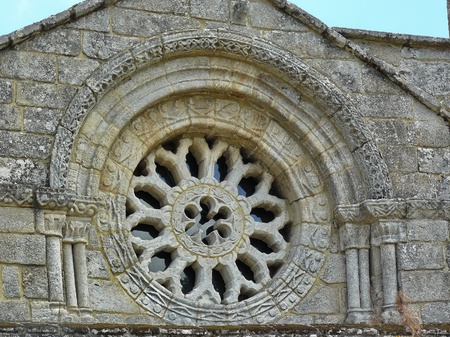 orense: Romanesque rose window of Church of Santo Tom� de Serantes in Galicia, Spain
