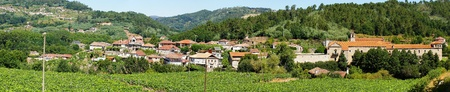 Panoramic view of the village of San Clodio and medieval monastery, Leiro, Ourense, Galicia, northwest of Spain