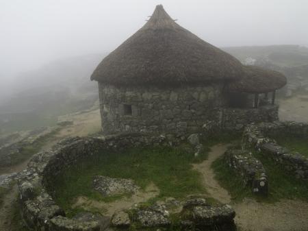 galicia: Castro de Santa Tecla in the fog  It�s a hill fort of Iron Age