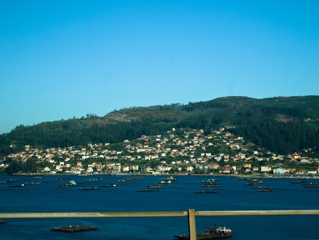 Mussel barges in domaio in Ria de Vigo, the southern most ria of the Rias Baixas Stock Photo