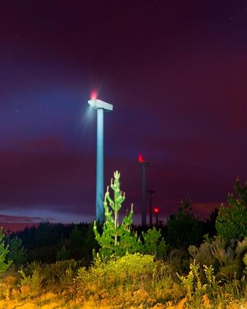 generates: Eolic generator on at night