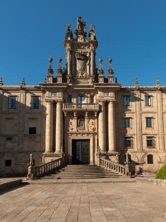Barroque facade of San Martin Pinario monastery in Compostela