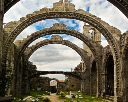 galicia: Ruins of Santa Marina church in Cambados in Galicia