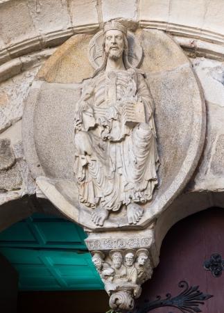 Romanesque pantocrator in Lugo cathedral facade